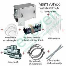 Pachet sistem ventilatie cu recuperare caldura 600 mc/h