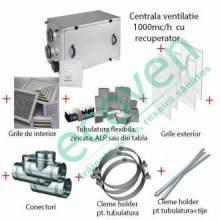 Pachet sistem ventilatie cu recuperare caldura 1200 mc/h